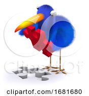 Poster, Art Print Of 3d Blue Bird Puzzle