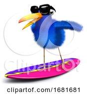 Poster, Art Print Of 3d Blue Bird Surfing