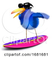 3d Blue Bird Surfing by Steve Young