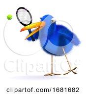 Poster, Art Print Of 3d Blue Bird Tennis