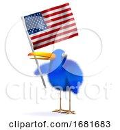 3d Blue Bird With An American Flag