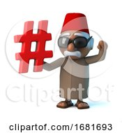 3d Funny Cartoon Moroccan In Fez Holding A Hash Tag Symbol