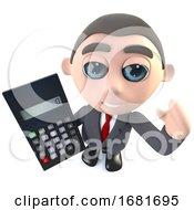 3d Funny Cartoon Executive Businessman Character Using A Calculator