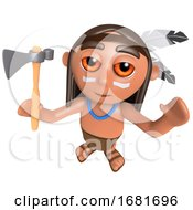 Funny Cartoon 3d Native American Indian Character Cheering With His Axe