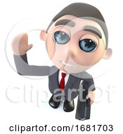3d Funny Cartoon Executive Businessman Character Carrying A Briefcase