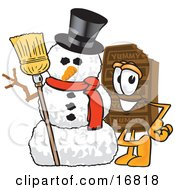 Clipart Picture Of A Chocolate Candy Bar Mascot Cartoon Character With A Snowman On Christmas by Toons4Biz