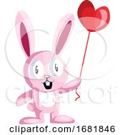 Poster, Art Print Of Pink Bunny Holding A Heart Shaped Balloon