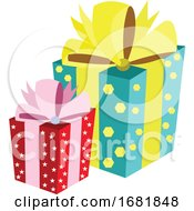 Poster, Art Print Of One Big Gift Box With Turquoise Wrap Paper With Yellow Hexagons And Yellow Ribbon And One Small Gift Box With Red Wrap Paper With White Stars And Pink Ribbon