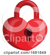 Poster, Art Print Of Heart Shaped Red Padlock With A Key Hole