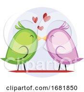 Poster, Art Print Of A Green Bird And A Violet Bird Kissing
