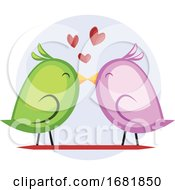 A Green Bird And A Violet Bird Kissing by Morphart Creations
