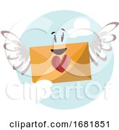Dark Yellow Envelope With A Red Heart And Wings Smiling