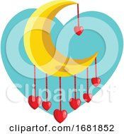 Poster, Art Print Of Red Hearts Hanging From Yellow New Moon