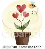 Poster, Art Print Of House Plant With Hearts In Stead Of Flowers Grren Leafs And Flying Bee