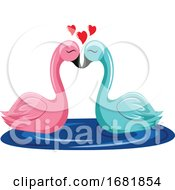 Poster, Art Print Of Pink And Blue Swan Kissing In The Water