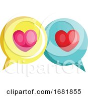 Poster, Art Print Of Yellow Chat Bubble With A Pink Heart And Blue Chat Bubble With A Red Heart