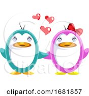 Blue And Pink Penguin In Love