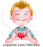 Poster, Art Print Of Blonde Boy With Heart