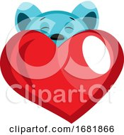 Poster, Art Print Of Blue Bear Peeking Behind Red Heart