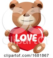 Poster, Art Print Of Brown Bear Holding Heart That Says Love