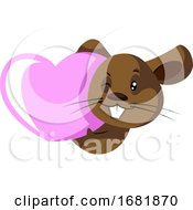 Poster, Art Print Of Cute Little Brow Rat With Pink Heart
