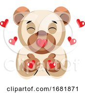 Poster, Art Print Of Cute Bear Sending Kisses