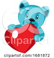 Poster, Art Print Of Cute Blue Bear Holding A Heart