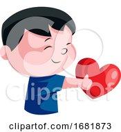 Little Boy Holding Red Heart