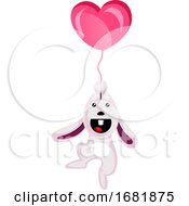 Poster, Art Print Of White Rabbit Holding A Heart Shaped Balloon