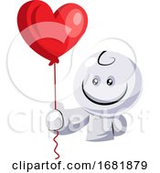 Poster, Art Print Of White Character Holding Red Balloon