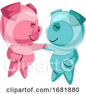 Poster, Art Print Of Couple Of Cute Pigs In Love