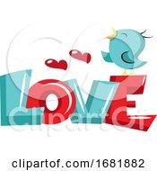 Poster, Art Print Of Blue Bird Standing On Love Sign