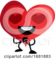 Poster, Art Print Of Red Heart With Heart Shaped Eyes
