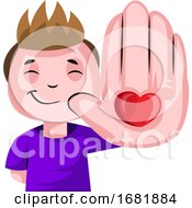 Poster, Art Print Of Boy With Heart On His Palm