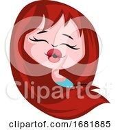 Poster, Art Print Of Girl With A Long Hair Sending Kisses