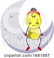 Sad Yellow Creature Sitting On The Moon