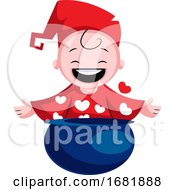 Poster, Art Print Of Little Boy With Hearts On His Pajamas