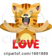 Poster, Art Print Of Ginger Cat Says That She Loves You