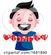 Black Haired Boy With Multiple Hearts In His Hands