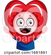 Poster, Art Print Of Boy Peeking Through Red Heart