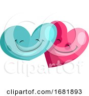 Poster, Art Print Of Blue And Pink Heart In Love