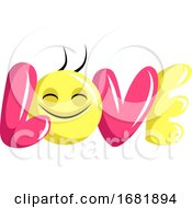 Poster, Art Print Of Pink And Yellow Love Sign With Happy Face