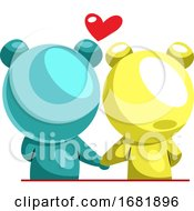 Poster, Art Print Of Blue And Yellow Bear In Love
