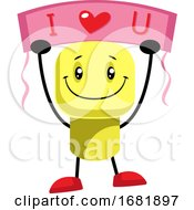 Poster, Art Print Of Yellow Character Says That He Loves You