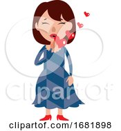 A Woman Full Of Love Sending Kisses
