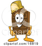 Clipart Picture Of A Chocolate Candy Bar Mascot Cartoon Character Wearing A Hardhat Helmet by Toons4Biz