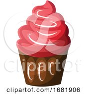 Poster, Art Print Of Chocolate Cupcake With Red Icing