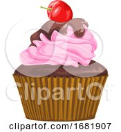 Vector Of Chocolate Cupcake With Cherry