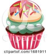 Colorful Cupcake With Sprinkles by Morphart Creations