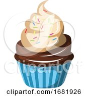 Chocolate Cupcake With Whipped Cream And Sprinkles